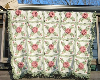 Pink Wild Roses Crocheted Afghan Blanket Throw - Made fresh after sale - 25 squares