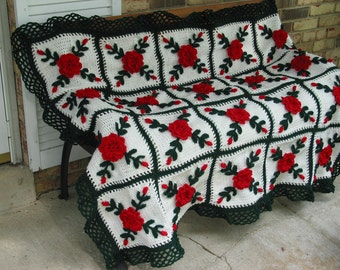 Red Wild Roses Afghan Throw Floral Crocheted Blanket - Made fresh after sale - 25 squares