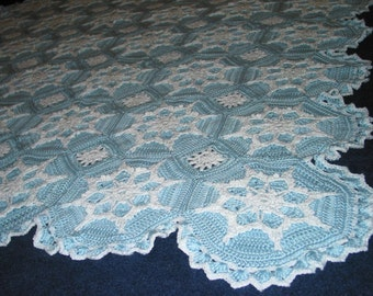 Snowflake Afghan Crocheted Blanket Snow Buddies Blue - Made Fresh after Sale