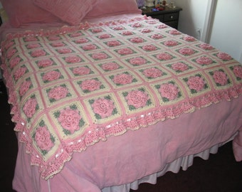 Floral Pink Roses Afghan with Ruffles, Satin Ribbons & Bows - Made to Order - 63 squares
