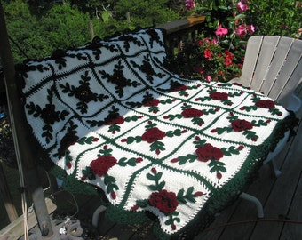 Claret Dark Red Wild Roses Afghan - Floral Crocheted Blanket - Made Fresh After Sale - 25 squares