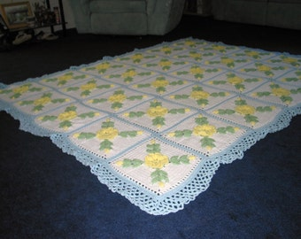 Floral Yellow Wild Rose Afghan with a Soft Light Blue border - Made Fresh After Sale - 30 squares