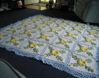 Yellow Wild Rose Afghan with Soft Light Blue border - Made Fresh After Sale - 25 squares