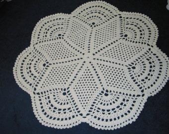 Crocheted Cream Doily Rug  4 feet round