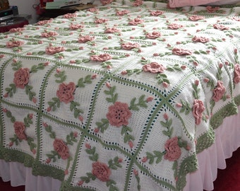 Floral Wild Rose Crocheted Afghan - King Size - Made Fresh after sale - 56 squares