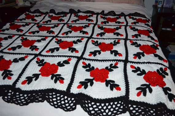 Red Rose Afghan - Made fresh after sale - 20 squares Red, Black and White