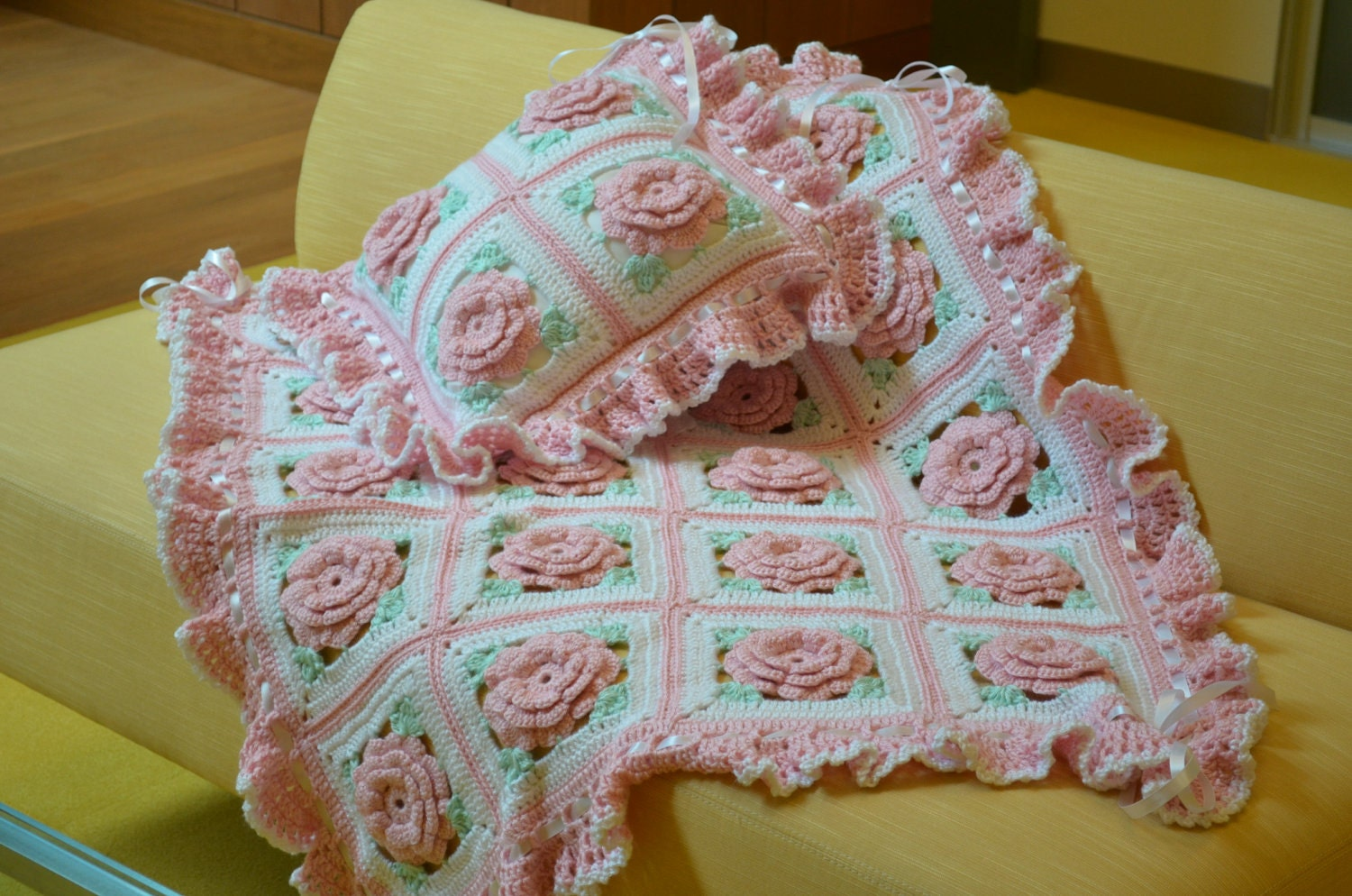 Pink Roses Floral Afghan Baby Blanket With Pillow Made Fresh