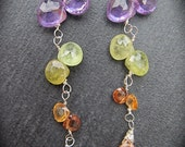 Stunning Amethyst, Peridot and Citrine Sparkling Drop Earrings