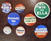 Vintage Political Buttons/Pins  Collection Of 8  1950's - 1980