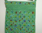 Vintage Green Beaded Handbag w/Fringe