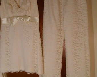 Vintage 1960's Two-Piece Lace Outfit  Blouse & Pants  Small/Extra Small
