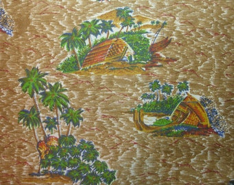 Vintage  1960's Fabric w/Polynesian Design