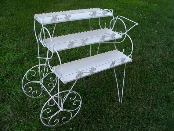 Vintage Metal Plant Stand Wheeled Cart