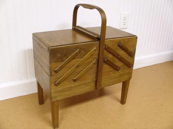 Vintage Strommen Bruk Hamar Accordian Sewing Box