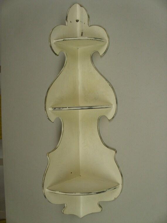 Vintage Shabby Chic Wooden Corner Shelf
