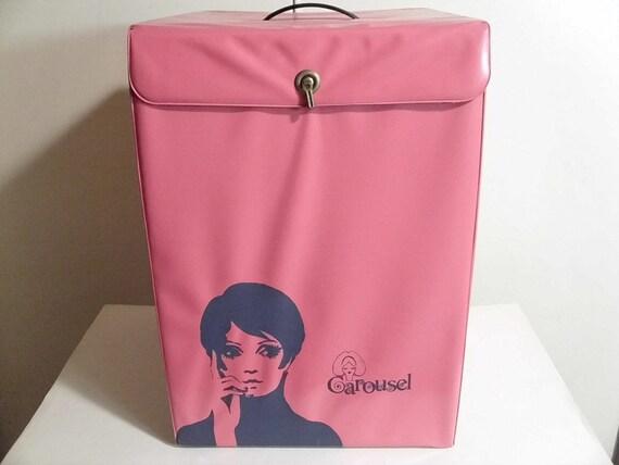 "FINAL SALE Vintage 1960's ""Carousel"" Pink Hat/Wig Box"