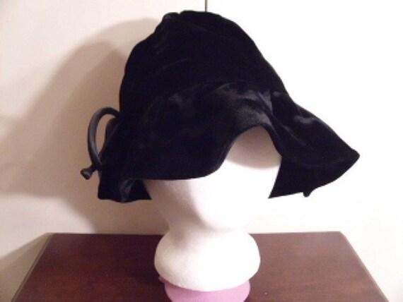 RESERVED Vintage 1960's Black Velvet Floppy Hat