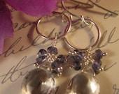Gemstone Hoop Earrings,gemstone earrings, cluster earrings, amethyst earrings, hoop earrings, silver earrings,drop earrings,dangle earrings