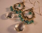 Green Amethyst Hoop earrings, gemstone earrings, gemstone jewelry, amethyst earrings, gold earrings, gold hoop earrings, crystal earrings