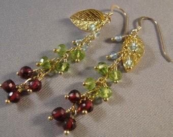 Gemstone cluster earrings,gemstone earrings, drop earrings, dangle earrings, gemstone jewelry,gold earrings, cluster earrings,gemstones