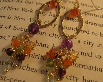 Gemstone Cluster Earrings,gemstone earrings,drop earrings,dangle earrings,hoop earrings,blue topaz earrings,gold hoop earrings,gold earrings
