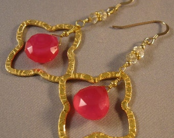 Hot Pink Chacledony earrings,Gold Hoop Earrings,gemstone earrings,drop earrings,chacledony earrings,gold earrings,dangle earrings,drop