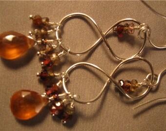 Sapphire Hessonite Sterling Silver Hoop Earrings,cluster earrings,drop earrings earrings,dangle earrings, silver earrings, hoop earrings