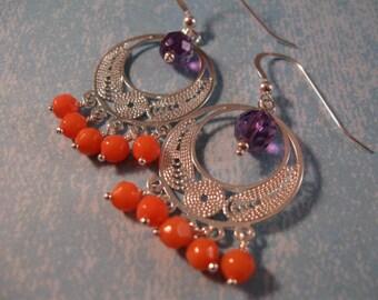 Amethyst Coral Chandelier Earrings,gemstone earrings,silver earrings,dangle earrings,drop earrings,coral earrings,amethyst earrings