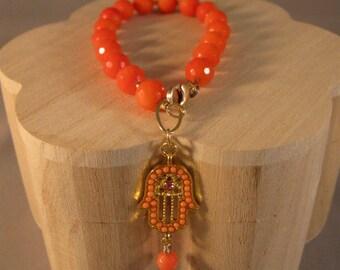 Gemstone bracelet, coral bracelet, orange bracelet, hamsa bracelet, gemstone jewelry, evil eye, bracelet, gemstone