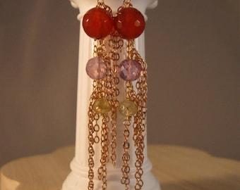 Gemstone dangle earrings, gemstone earrings, gold earrings, amethyst earrings, peridot earrings, drop earrings, dangle earrings, gemstones