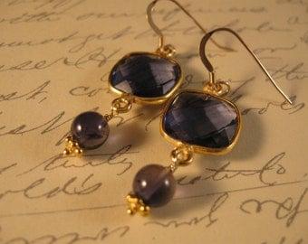 Gemstone dangle Earrings, iolite earrings, gemstone earrings, gold earrings, gemstone jewelry, dangle earrings, drop earrings, crystal