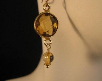 Gemstone dangle Earrings, gemstone earrings, gold earrings, citrine earrings, gemstone jewelry, drop earrings, dangle earrings, crystal