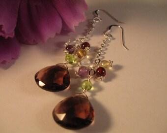 Gemstone Dangle Earrings, gemstone earrings, cluster earrings, silver earrings, gemstone cluster, drop earrings, silver earrings