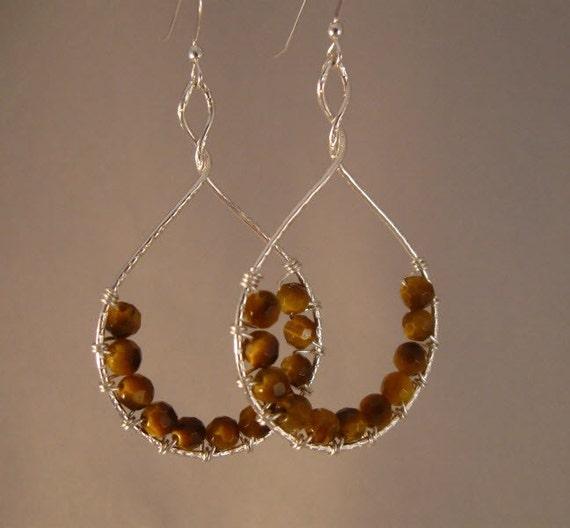 Gemstone wrapped Sterling Hoop Earrings, gemstone earrings,drop earrings,tiger eye earrings,silver earrings,hoop earrings,dangle earrings