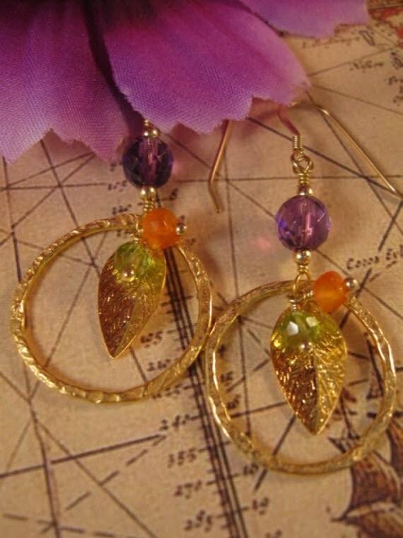 Amethyst and Peridot Gold Hoop Earrings - gemstone earrings, gold earrings, hoop earrings, gemstone jewelry, amethyst earrings
