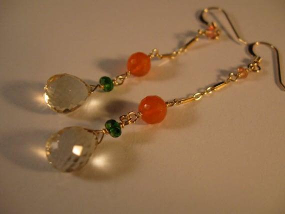 Gemstone Dangle Earrings, gemstone earrings, gold earrings, dangle earrings, carnelian earrings, drop earrings, gemstone jewelry