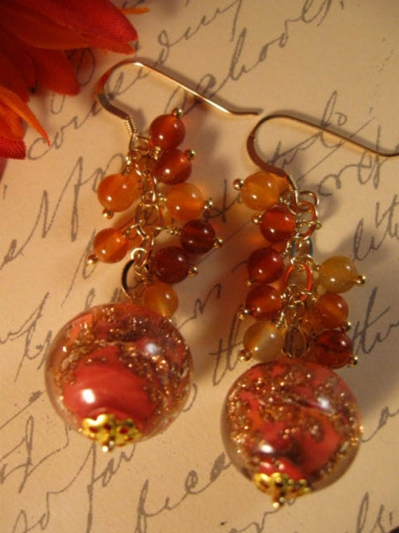 Gemstone Cluster Earrings,Carnelian, gemstone earrings, gold earrings,gemstone jewelry,drop earrings,dangle earrings,venetian glass earrings