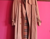 Burberry long trench coat 80s vintage raincoat