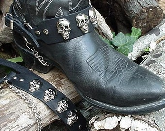 Western/Biker BOOTS BOOT CHAINS Cast Skulls