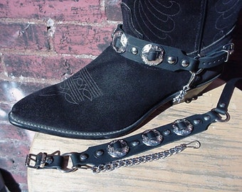 Western/Biker BOOT CHAINS Triple Nickel Conchos