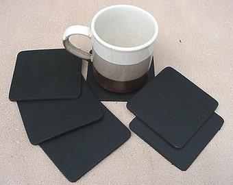 COASTERS Genuine Leather Square 6 pcs BLACK