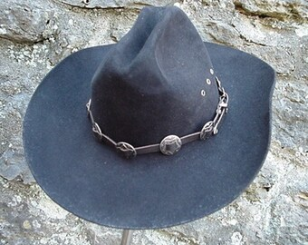 WESTERN HAT BAND Black Leather 10 Antiqued Conchos