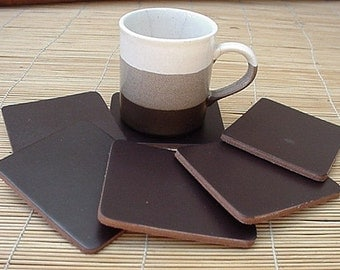 COASTERS LEATHER SQUARE 6 pcs CHOCOLATE BROWN