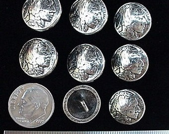 "CONCHOS Indian Head Nickel Buttons 15MM 9/16"" 8 pcs"