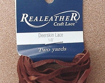 DEERSKIN LACE LACING LEATHER TOPGRAIN SADDLE BROWN 2 YD