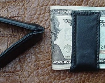 MAGNETIC MONEY CLIP Genuine Black Leather