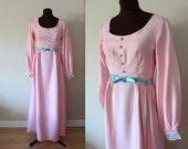 40% OFF SALE 1970's Maxi Dress / Flower Child / Empire Waist Dress (s-m)