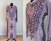 Bohemian Kaftan / 1970s Maxi Dress / Embroidered Caftan (m-l)