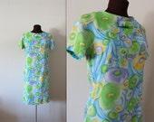40% OFF SALE 1960s Wiggle Dress / Watercolor Dress / Shift Dress (s)
