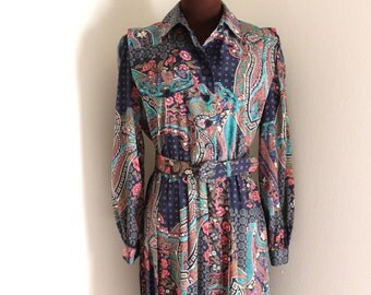 Vintage 1980's Paisley Shirt Dress Mini Dress with Accordion Pleating (m-l)